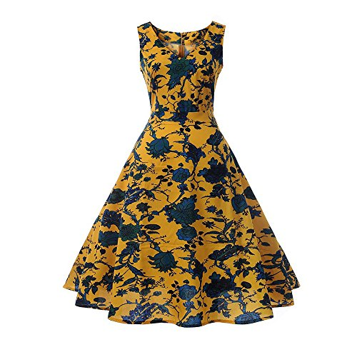 Women Dress Godathe Women Printing Bodycon Sleeveless Casual Evening Party Prom Swing Dress S-2XL