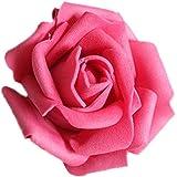 50x Rosa Teste di Fiore Artificiale Schiuma Sposa Bouquet Decorazione Matrimonio Partito Casa - Rosa Rosso