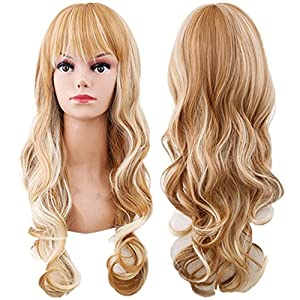 WeAlake Curly Wigs Long Big Wavy Hair Women Light Blonde Cosplay Party Costume Wig
