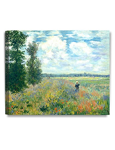 DECORARTS Poppy Fields near Argenteuil, Claude Monet Art Reproduction. Giclee Canvas Prints Wall Art for Home Decor 24x20 (Field Argenteuil Poppy)
