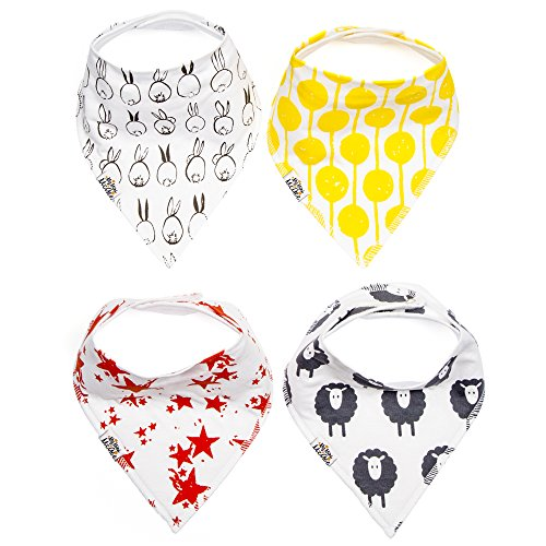My Mini McGee Baby Bandana Drool Bibs with Adjustable Snaps, 4 Pack, for Boys and Girls, Infants and Toddlers, Baa Collection, Baby Gift