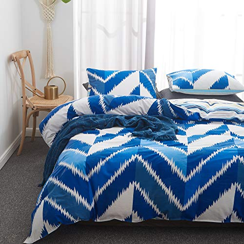 Uozzi Bedding 3 Pieces 100% Washed Cotton Duvet Cover Set - 1 Blue White Stripes Duvet Cover +2 Pillow Shams -1200TC Luxury Quality Soft 3PC Bedding Set - 4 Ties & Zipper Design (Blue,King)