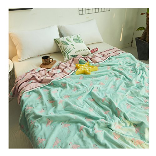 Uozzi Bedding 6 Layers of 100% Hypoallergenic Muslin Cotton Premium Toddler Blanket Spring Summer Lightweight Quilt/Throw Blanket for Teens, Adults (Flamingo 01, 45