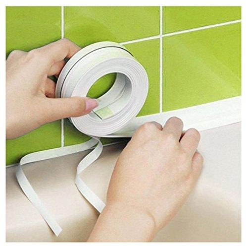 White Tub And Wall Caulk Strip, Kemilove 3.2m x 3.8cm Kitchen Caulk Tape Bathroom Wall Sealing Tape Waterproof Self-Adhesive Decorative Trim