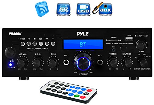 Pyle PDA6BU 200 Watt Bluetooth Stereo Amplifier Receiver with Remote Control and FM Antenna