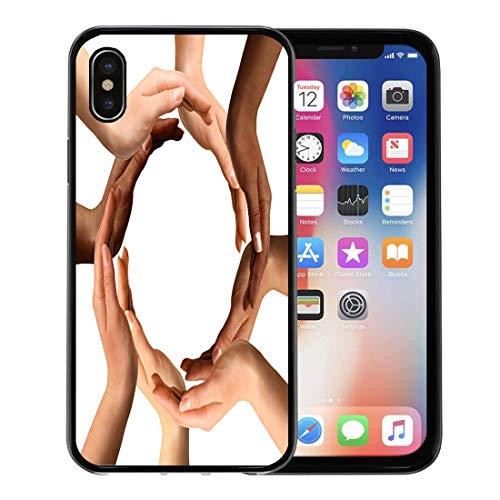 Emvency Phone Case for Apple iPhone Xs Case/iPhone X Case,Conceptual Symbol of Multiracial Human Hands Making Circle Soft Rubber Border Decorative, Black