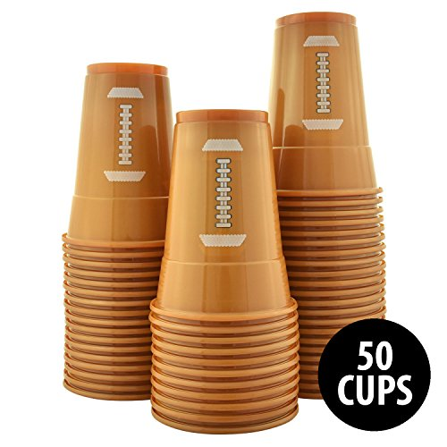 (KOVOT 50-Pack 16 Ounce Football Cups | Soft Plastic Football Party Cups (50 Cups)