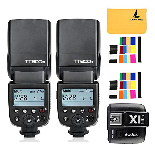 Godox TT600S GN60 2.4G 2XCamera Flash Speedlite for Sony MI Hot Shoe Camera +Godox X1T-S I-TTL 2.4G Wireless Flash Trigger Transmitter for Sony DSLR Cameras with MI Shoe by Godox