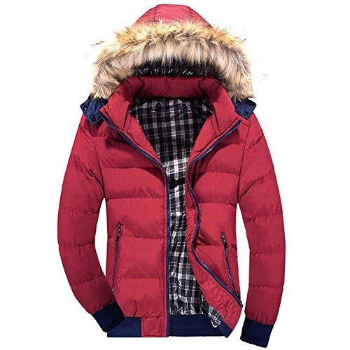 Highdas Herren Winter Warme Daunen Baumwolle Parkas dicken Mantel abnehmbaren Kappe Outwear Fell Kapuze Parka 1 M