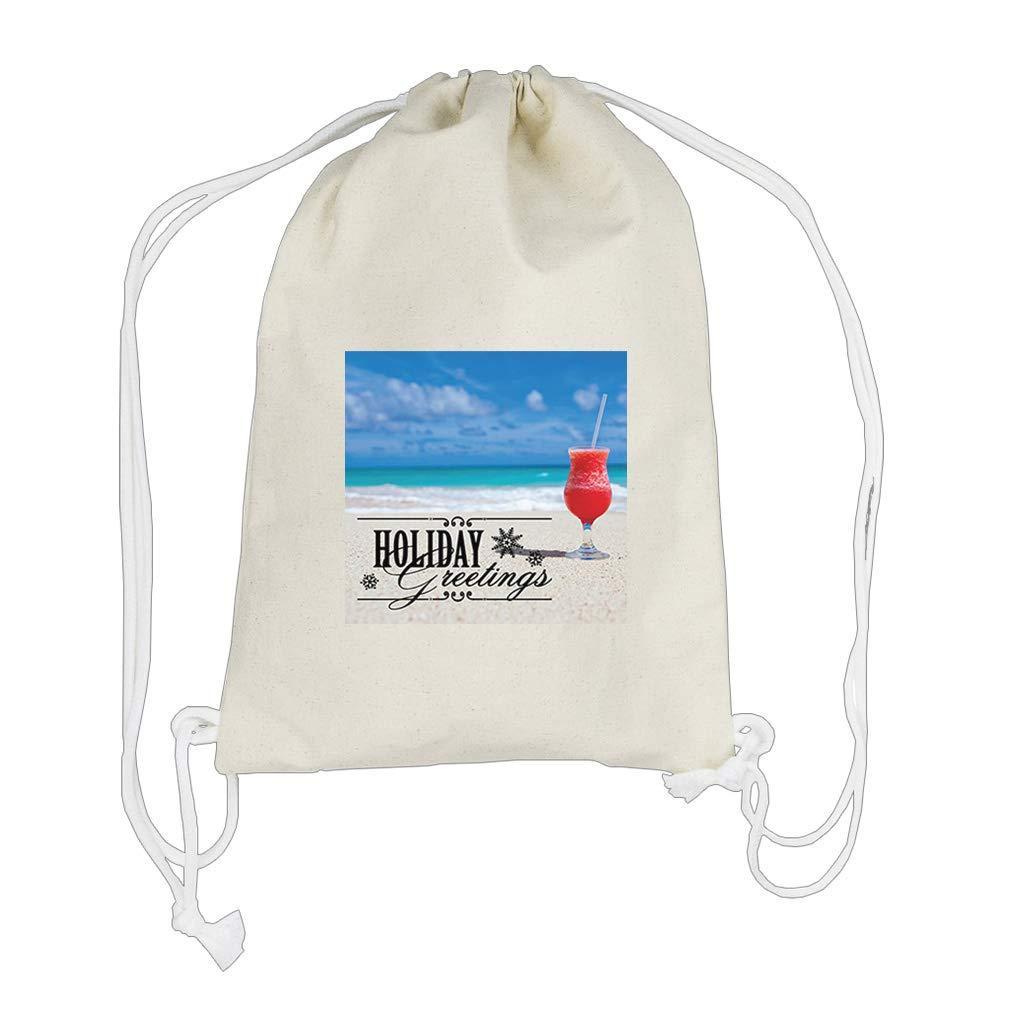 A Glass Juice Kept near Sea Boys-Girls Backpack Drawstring Bag