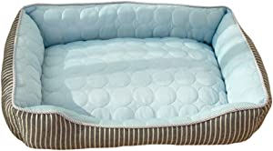 BinetGo Cooling Dog Bed Soft Ice Silk Cat Bed | Washable Summer Cooling Pet Bed | Soft Rectangle Bed Cushion for Small Medium Large Dog and Cat