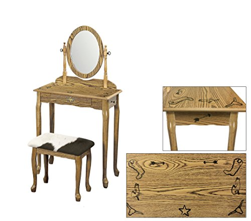 The Furniture Cove Light Oak Finish Queen Anne Vanity Table with Real Branding Iron Designs and an Authentic Cowhide Covered Bench Cushion (Black and White Dairy) ()