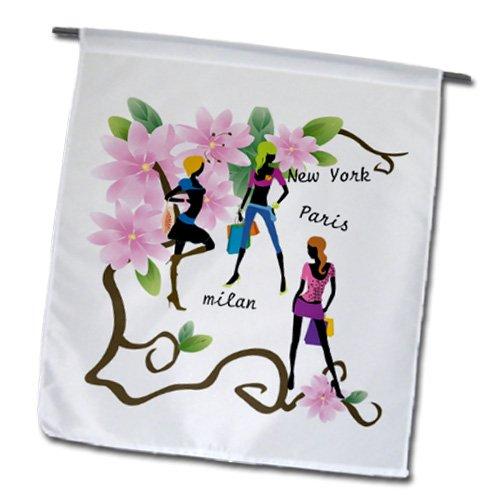 Florene - Decorative II - image of world fashion with floral - 18 x 27 inch Garden Flag (fl_174276_2)