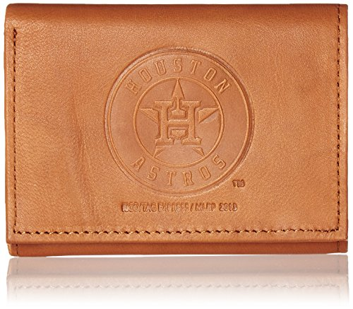 Rico Industries MLB Houston Astros Embossed Genuine Cowhide Leather Trifold (Leather Mlb Wallet)