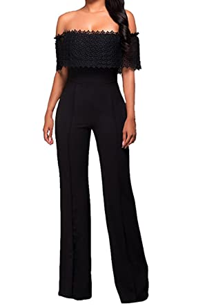 35c08fe0cfe Amazon.com  Halfword Womens Sexy Off Shoulder High Waisted Long Wide Leg  Jumpsuits Rompers  Clothing