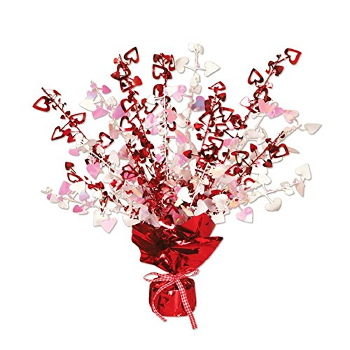 - Pack of 12 Red and Opalescent Heart Gleam 'N Burst Valentines Centerpieces 15