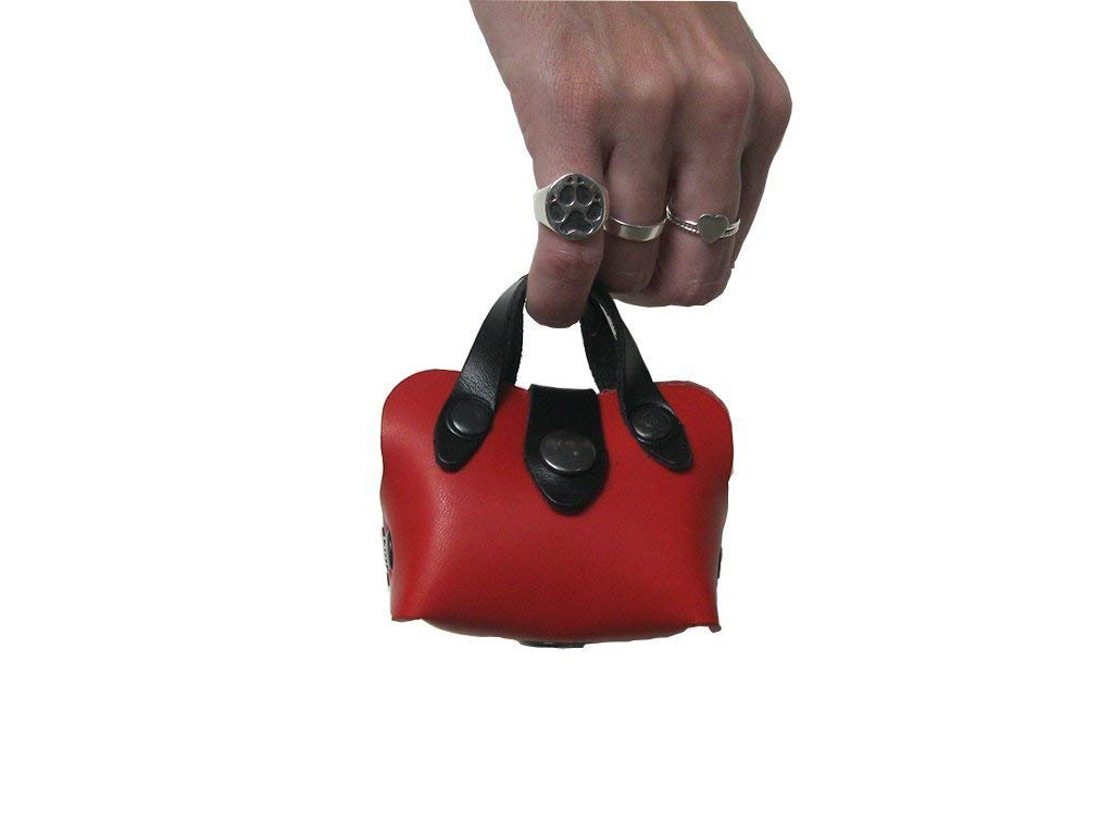 Porta Sacchetti per Cani in Pelle Rossa a Forma di Borsa da Donna - Realizzati a mano in Italia