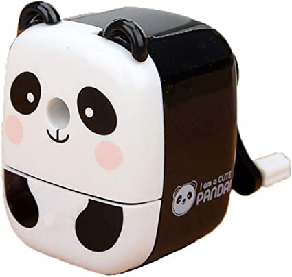 Dessin Animé Panda Main Taille Crayon Rotation Papeterie