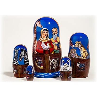 "Made in Russia Noah's Ark Nesting Doll 5pc./6"" aka Genesis Flood Matryoshka Collectible Babushka Russian Doll top quality 100% Guaranteed!: Toys & Games"