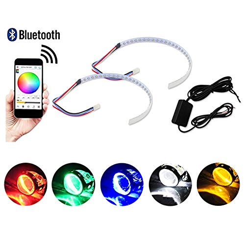 GTinthebox (2) Bluetooth Wireless Remote Control 30-SMD RGB LED Demon Eye Halo Ring Kit For Car Auto Motorcycle Headlight Projectors or 2.5