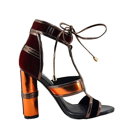 Cape Robbin Maura 2 Womens Metallic Caged Open Toe Lace Up Heel Orange iUoV9IQjlL