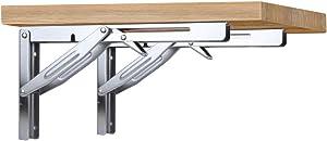 Folding Shelf Bracket - Bench Table Folding Shelf or Bracket, Max. Load 660lbs (Sold in Pairs), (14 Inch Short Release Handle)