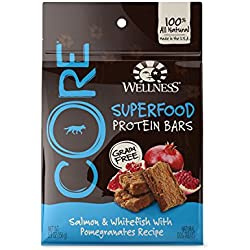 Wellness CORE Superfood Protein Bars Natural Grain Free Dog Treats, Salmon & Whitefish, 5.5-Ounce Bag