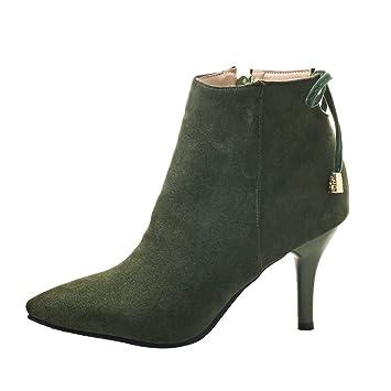 LuckyGirls Botas con Tacón de Aguja de Mujer Nudo Moda Botine Botina Zapatillas Casuales Calzado Zapatos con Cremallera 8cm: Amazon.es: Deportes y aire ...