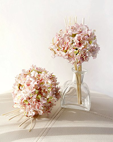 Plawanature Sweet Pink Hydrangea Bundle Mulberry Paper Flower Bouquet with Reed Diffuser for Home Fragrance. Hydrangeas Bouquet Paper