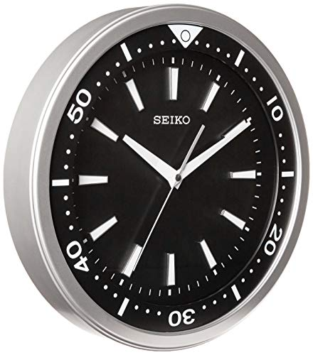 "Seiko 14"" Ultra-Modern Watch Face Black & Silver Tone with Quiet Sweep Wall Clock"