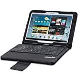 GreatShield 2!Go Series Detachable Bluetooth Keyboard Leather Case with Backlit Light and Sleep/Wake Function for Samsung Galaxy Tab 3 10.1 - Black