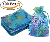 AiXiAng 100pcs Blue Organza Drawstring Pouches Jewelry bags, Marrywindix Candy Pouch Chocorate Pouch Party Bridal Shower Wedding Favor Gift Bag