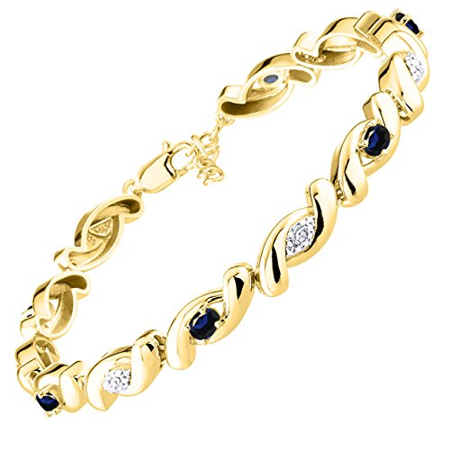 Stunning Sapphire & Diamond Tennis Bracelet Set in Yellow Gold Plated Silver - Adjustable to fit 7