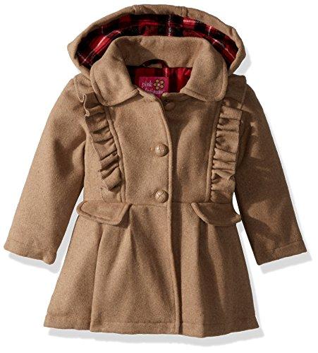 Pink Platinum Baby Girls Cute Ruffles Wool Jacket, Khaki, 24M (Baby Pink Girls Wool)