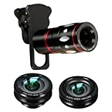 M.Way 4 in 1 10x Zoom Telephoto + Fish Eye + Wide Angle + Macro Clip on Cellphone Lens Kits For iPhone 6S 6, Samsung, HTC, Ipad, Tablet, PC, Laptops