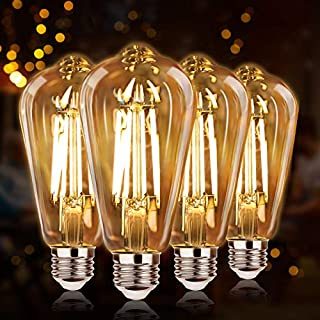 Dimmable LED Edison Light Bulbs 100W Equivalent, Vintage Light Bulb 2700K Warm White(Amber Glass), ST64/ST21 LED Filament Bulbs 8W 1200LM, E26 LED Edison Bulbs for Home, Reading Room, Bathroom, 4-Pack