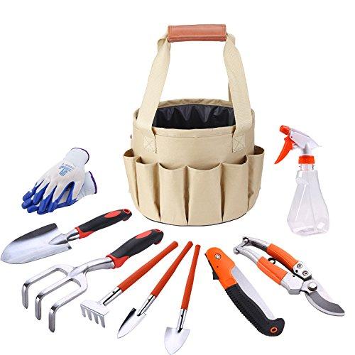 Zeceouar Garden Tool Set, 10 Pack Aluminum Hand Tool Kit, Best Garden Gift Set,Vegetable Gardening Hand Tools Kit Bag with Garden Digging Claw Gardening Gloves
