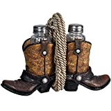 RIVERS EDGE COWBOY HOME DÉCOR HAND PAINTED BOOT W/ GLASS SHAKER S&P