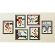 Treetop Jungle Animal Buddies Nursery Wall Art Prints (8 x10 , (6) Set of Six)