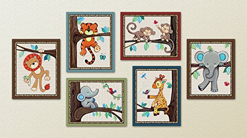 Treetop Jungle Animal Buddies Nursery Wall Art Prints 8quotx10quot 6 Set of Six