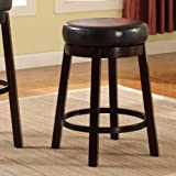 Roundhill Furniture Wooden Swivel Barstools, Counter Height, Bister Brown, Set of 2