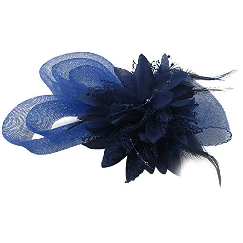 Auranso Derby Netting Mesh Headband Feather Big Flowers Hair Band Tea Party Girls Women Wedding Bridal Fascinator Hat Sapphire Blue]()