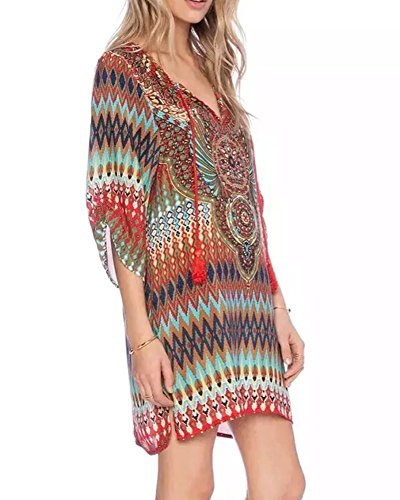 Donne Sciolto Spiaggia Come Boemia collo Stampa V Abiti Immagine Vestito Etnico Affascinante Casuale Stile bWIYe2H9ED