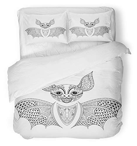 Emvency 3 Piece Duvet Cover Set Brushed Microfiber Fabric Breathable Zentangle Bat Totem for Adult Anti Stress Coloring Page for Therapy Tribal Bedding Set with 2 Pillow Covers Twin -