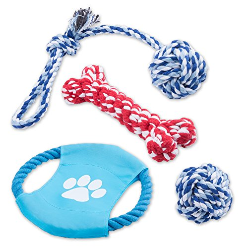 Intcrown Dog Rope Toys Puppy Chew Toys for Small and Medium Dogs 4 Pack (Busy Keep Them)