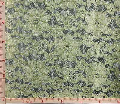 (Sage Green Daisy Flower Embroidery Lace Fabric Nylon 56-58