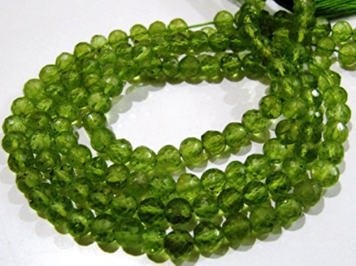Peridot Gemstone Round Shape - AAA Quality Natural Peridot Round Faceted Beads 4-5 mm/Gemstones Strands 13 inch Long/Ball Shape Beads- Semi Precious Gemstone Beads