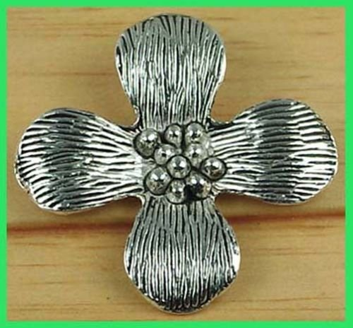 40mm Silver Pewter Thai Karen Style Flower Pendant