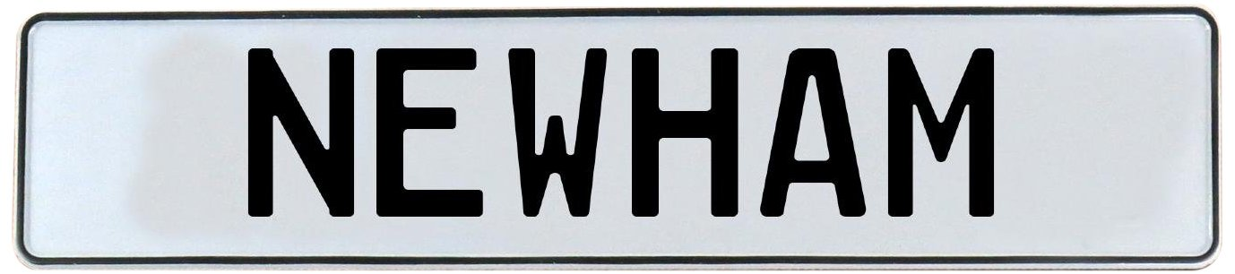 Newham White Stamped Aluminum Street Sign Mancave Vintage Parts 716391 Wall Art
