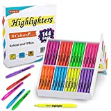 144 Pack Highlighters, Shuttle Art Highlighters Assorted Colors Set, 8 Bright Colors Chisel Tip Highlighter Markers Bulk for Kid and Adult Coloring, Highlighting as School Supplies